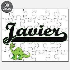 Javier Classic Name Design with Dinosaur Puzzle