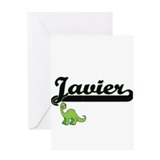 Javier Classic Name Design with Din Greeting Cards