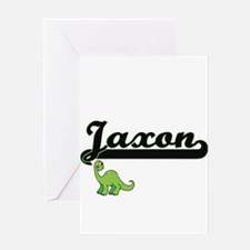 Jaxon Classic Name Design with Dino Greeting Cards