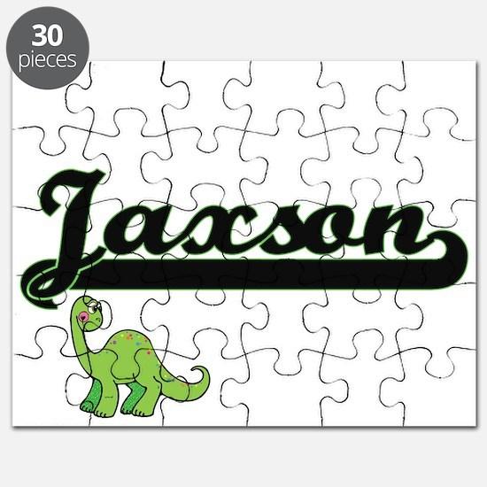 Jaxson Classic Name Design with Dinosaur Puzzle