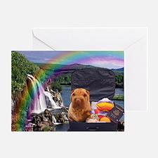 Rainbow Waterfall Shar Pei Greeting Card