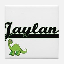 Jaylan Classic Name Design with Dinos Tile Coaster