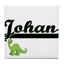 Johan Classic Name Design with Dinosa Tile Coaster