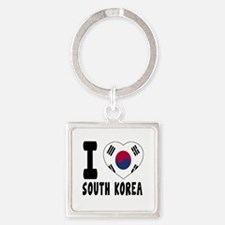 I Love South Korea Square Keychain