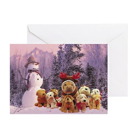 Snowman Shar Pei Greeting Cards (Pk of 10)