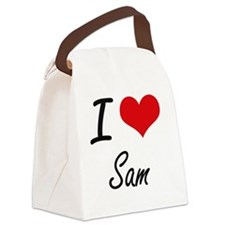 I Love Sam Canvas Lunch Bag