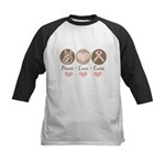 Peace Love Cure Pink Ribbon Kids Baseball Jersey