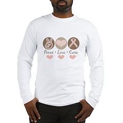 Peace Love Cure Pink Ribbon Long Sleeve T-Shirt