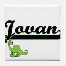 Jovan Classic Name Design with Dinosa Tile Coaster