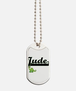 Jude Classic Name Design with Dinosaur Dog Tags