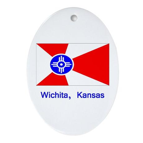 Wichita KS Flag Oval Ornament