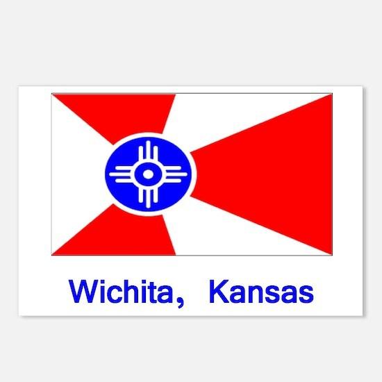 Wichita KS Flag Postcards (Package of 8)