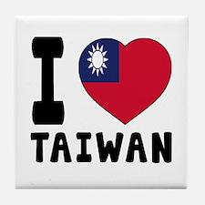 I Love Taiwan Tile Coaster