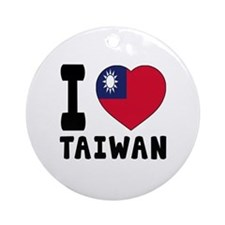 I Love Taiwan Round Ornament