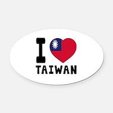I Love Taiwan Oval Car Magnet