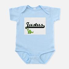 Justus Classic Name Design with Dinosaur Body Suit