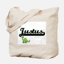 Justus Classic Name Design with Dinosaur Tote Bag