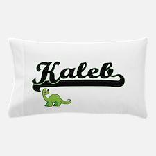 Kaleb Classic Name Design with Dinosau Pillow Case