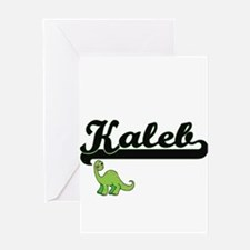 Kaleb Classic Name Design with Dino Greeting Cards