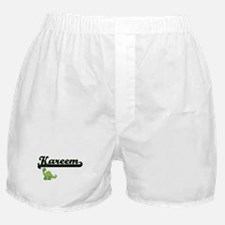 Kareem Classic Name Design with Dinos Boxer Shorts