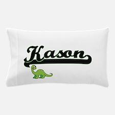 Kason Classic Name Design with Dinosau Pillow Case