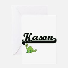 Kason Classic Name Design with Dino Greeting Cards