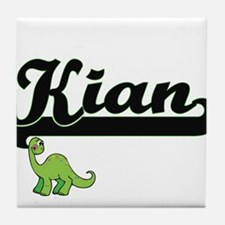 Kian Classic Name Design with Dinosau Tile Coaster