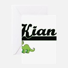 Kian Classic Name Design with Dinos Greeting Cards
