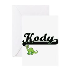 Kody Classic Name Design with Dinos Greeting Cards