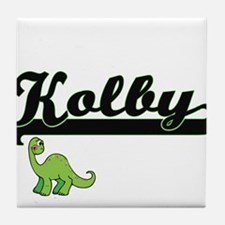 Kolby Classic Name Design with Dinosa Tile Coaster