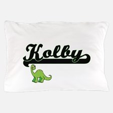 Kolby Classic Name Design with Dinosau Pillow Case