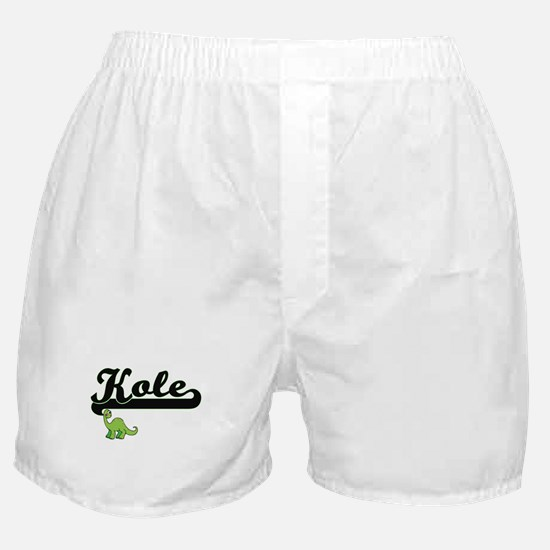 Kole Classic Name Design with Dinosau Boxer Shorts