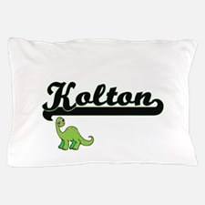 Kolton Classic Name Design with Dinosa Pillow Case