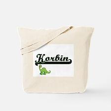 Korbin Classic Name Design with Dinosaur Tote Bag
