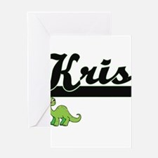 Kris Classic Name Design with Dinos Greeting Cards