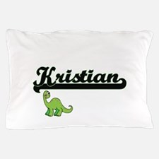 Kristian Classic Name Design with Dino Pillow Case