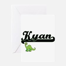 Kyan Classic Name Design with Dinos Greeting Cards