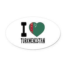 I Love Turkmenistan Oval Car Magnet