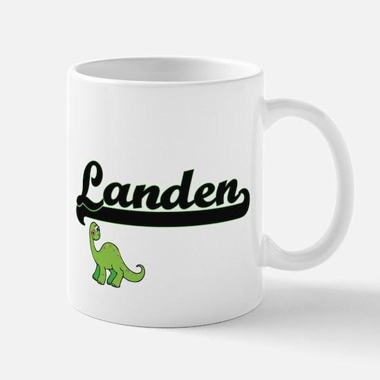 Landen Classic Name Design with Dinosaur Mugs