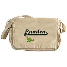 Landen Classic Name Design with Dino Messenger Bag