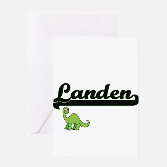 Landen Classic Name Design with Din Greeting Cards