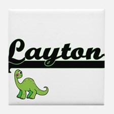 Layton Classic Name Design with Dinos Tile Coaster