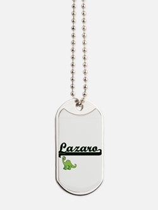 Lazaro Classic Name Design with Dinosaur Dog Tags