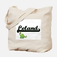 Leland Classic Name Design with Dinosaur Tote Bag