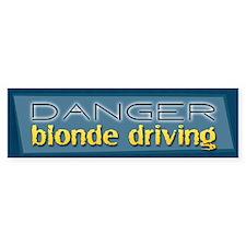 Danger: Blonde Driving Bumper Car Sticker