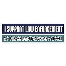 Support Law Enforcement Bumper Car Sticker