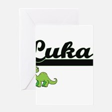 Luka Classic Name Design with Dinos Greeting Cards