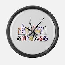 Chicago Fun Skyline Large Wall Clock