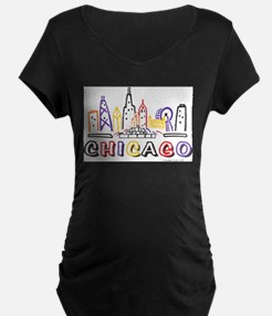 Chicago Fun Skyline Maternity T-Shirt