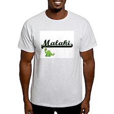 Malaki Classic Name Design with Dinosaur T-Shirt